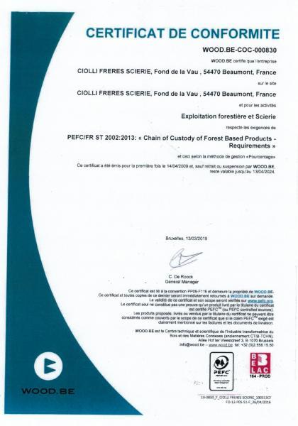 Certificat PEFC Ciolli 54